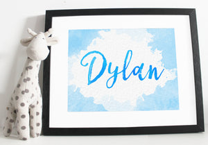 Name print - Watercolour effect - Pink and Orange