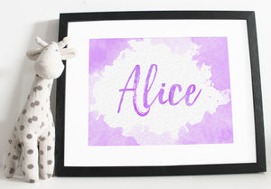 Name print - Watercolour effect - Blue