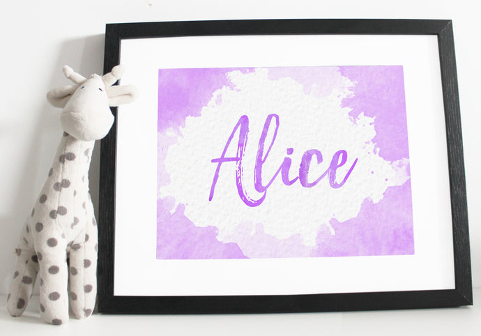 Name print - Watercolour effect - Purple
