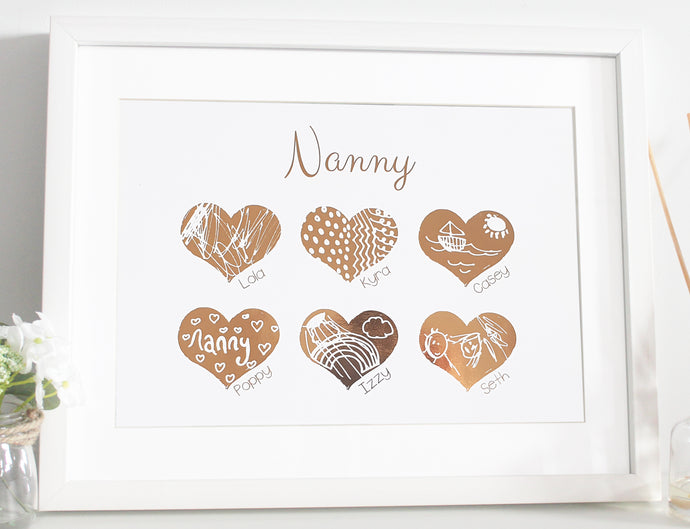 Children drawing print - Personalised with your drawings and names