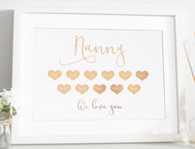 Load image into Gallery viewer, Grandparent heart foil print - Personalised with Grandchildren's names