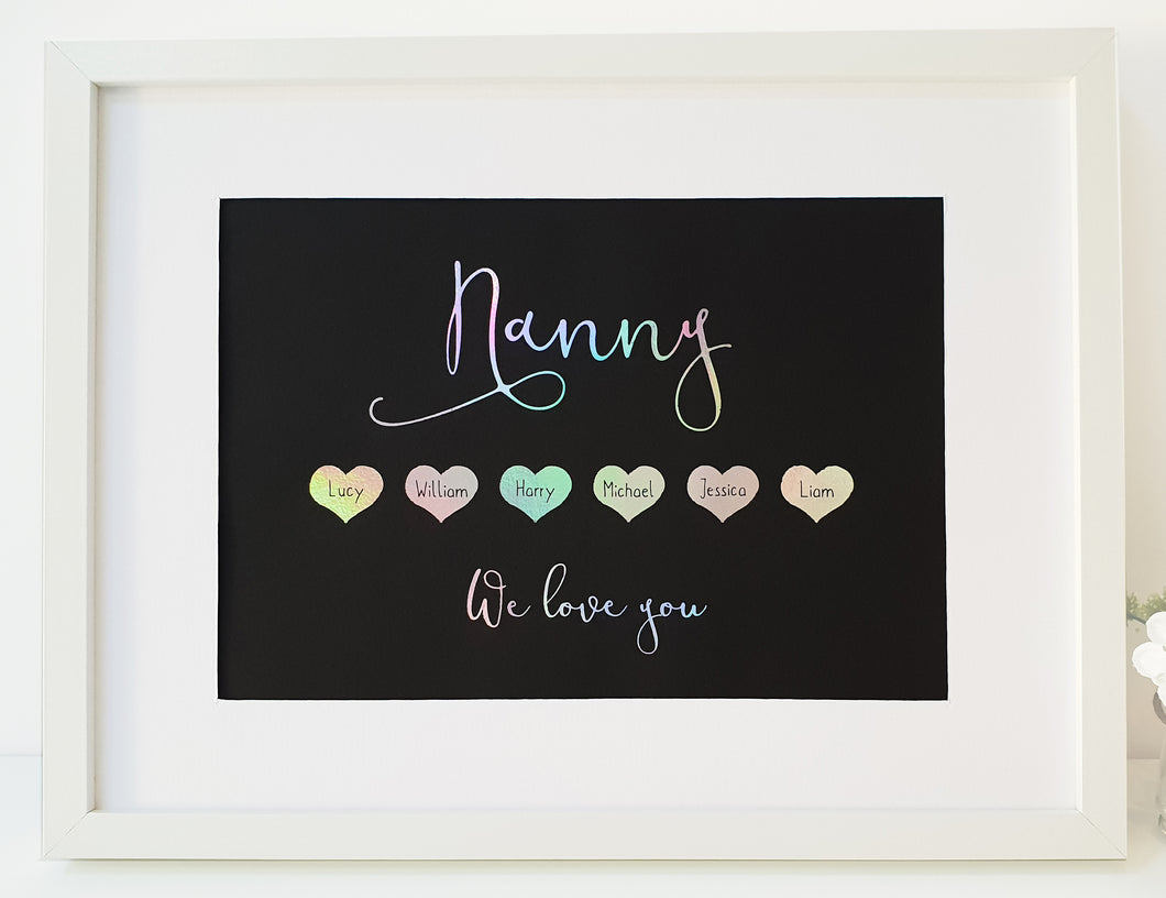 Grandparent heart foil print - Personalised with Grandchildren's names