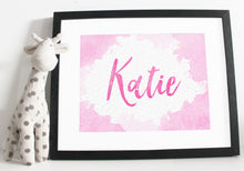 Load image into Gallery viewer, Name print - Watercolour effect - Pink and Orange
