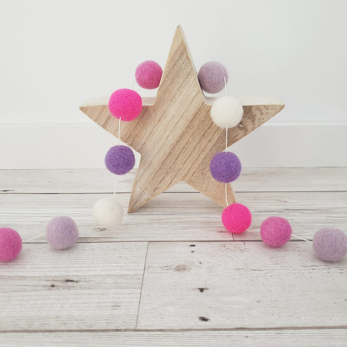 Pink, Purple and Ivory Felt Pom Pom Garland