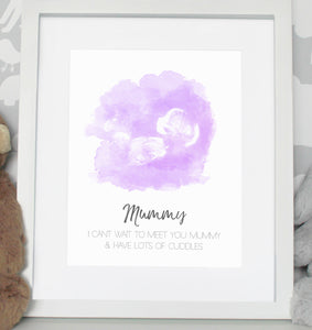 Baby scan photo print - Pink/Purple