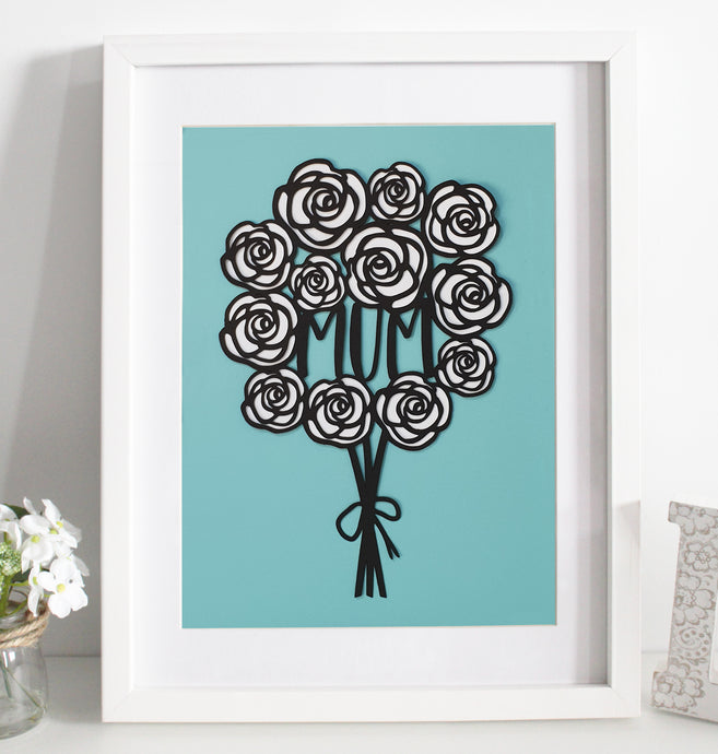 Rose bouquet paper cut - various colours available