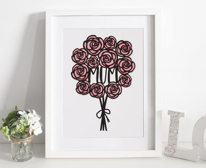 Rose bouquet papercut - Various colours available
