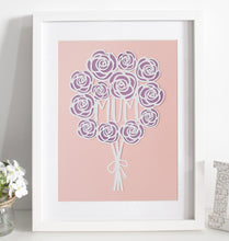 Load image into Gallery viewer, Rose bouquet paper cut - various colours available