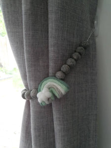 Mint Felt Rainbow curtain tieback