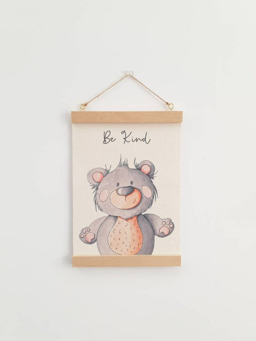 Bear canvas print with wooden wall hanger