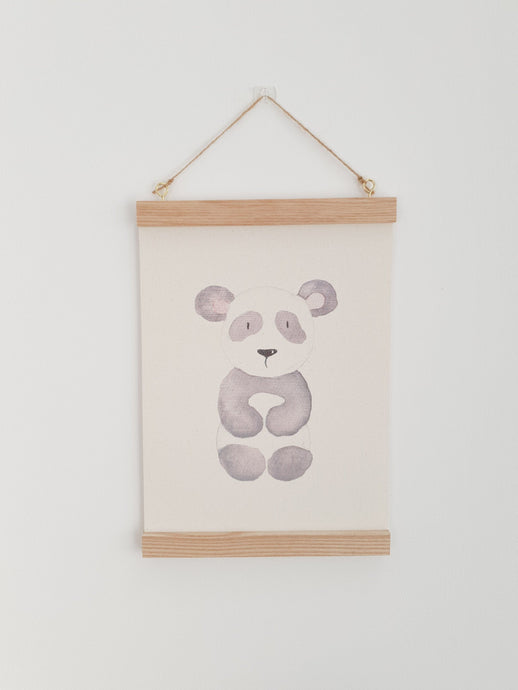 Panda canvas Print with Wooden hanger