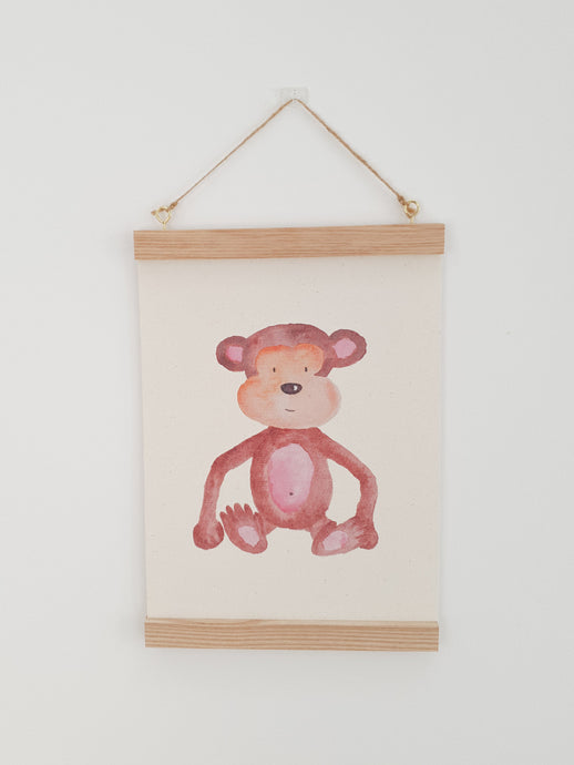 Monkey canvas Print with Wooden hanger