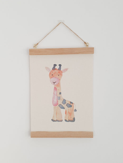 Giraffe canvas Print with Wooden hanger