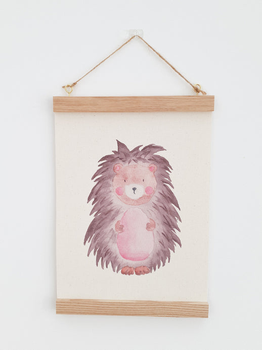 Watercolour Hedgehog canvas Print with Wooden hanger