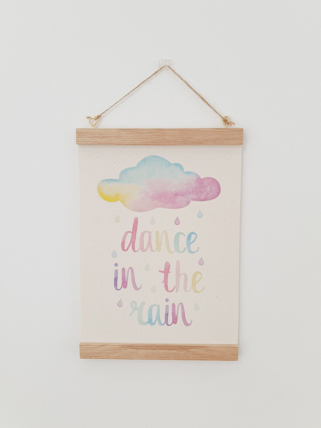 Rainbow Cloud canvas print with wooden hanger - Cloud nursery accessory - Cloud bedroom accessory - Print hanger - Dance in the rain print