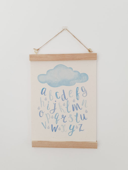 Cloud Alphabet canvas print with wooden hanger
