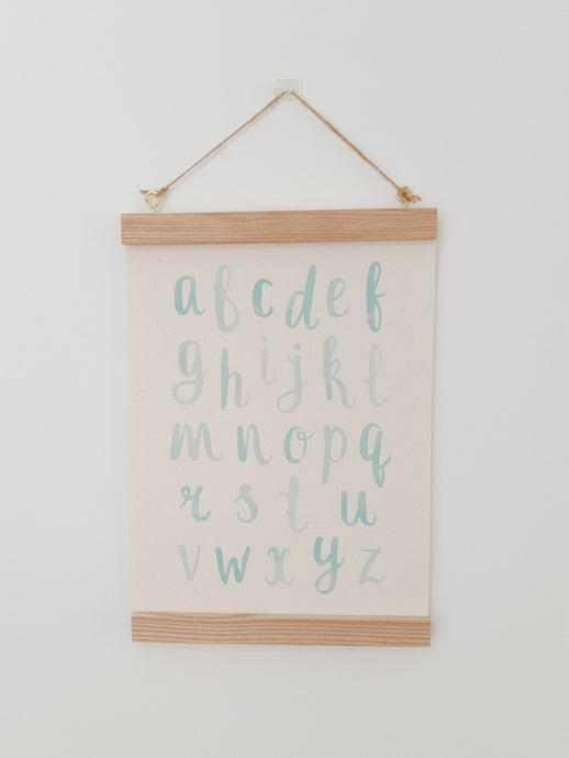 Alphabet canvas print with wooden hanger