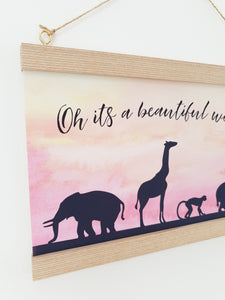 Beautiful world Animal canvas print with wooden wall hanger