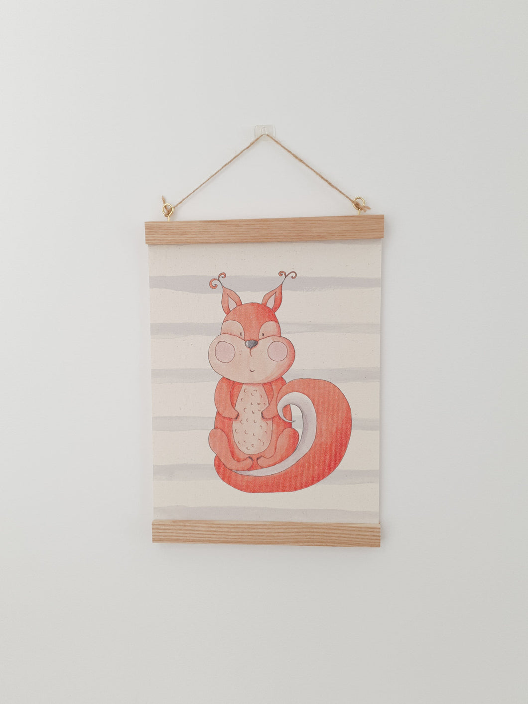 Squirrel canvas print with wooden wall hanger - Animal nursery accessory - Animal bedroom accessory - Squirrel Print