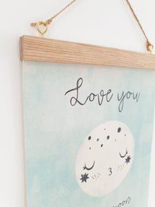 Love you to the moon canvas print with wooden hanger - Moon nursery accessory - Moon bedroom accessory - Wooden Print hanger - Mint nursery