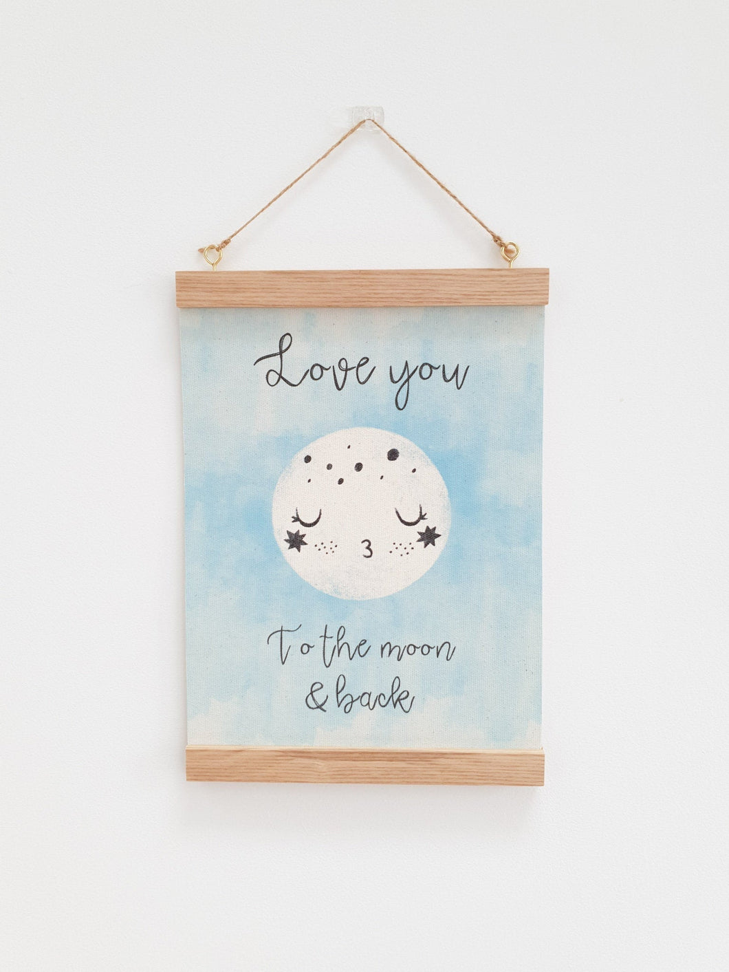 Love you to the moon canvas print with wooden hanger - Moon nursery accessory - Moon bedroom accessory - Wooden Print hanger - Blue nursery