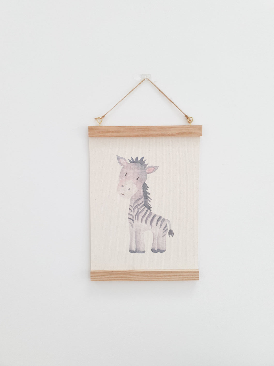 Zebra canvas print with wooden wall hanger - Animal nursery accessory - Animal bedroom accessory - Watercolour Zebra Print