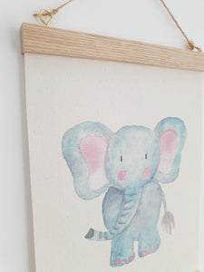 Elephant canvas print with wooden wall hanger