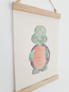 Turtle canvas Print with Wooden hanger