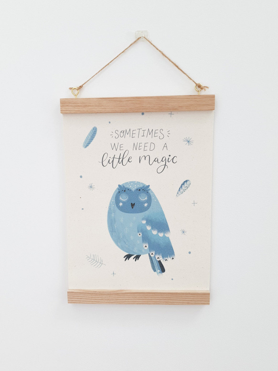 Owl canvas print with wooden hanger - Owl nursery accessory - Owl bedroom accessory - Wooden Print hanger