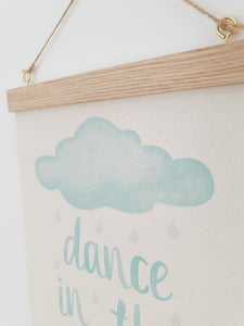 Cloud canvas print with wooden hanger