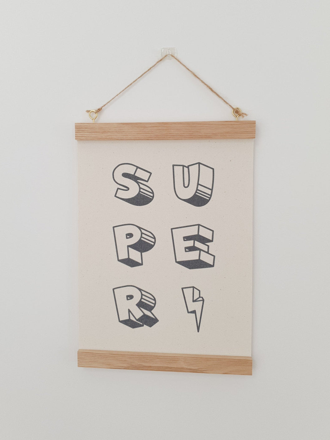 Super hero canvas print with wooden wall hanger - Super hero nursery accessory - Super hero bedroom accessory - Super hero Print
