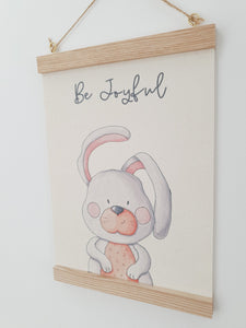 Bunny canvas print with wooden wall hanger