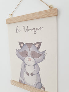 Raccoon canvas print with wooden wall hanger - Animal nursery accessory - Animal bedroom.accessory - Raccoon Print