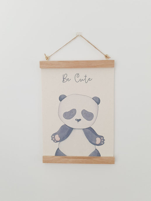 Panda canvas print with wooden wall hanger - Animal nursery accessory - Animal bedroom accessory - Panda Print