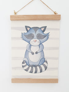 Raccoon canvas print with wooden wall hanger - Animal bedroom accessory - Woodland nursery accessory - Woodland Print