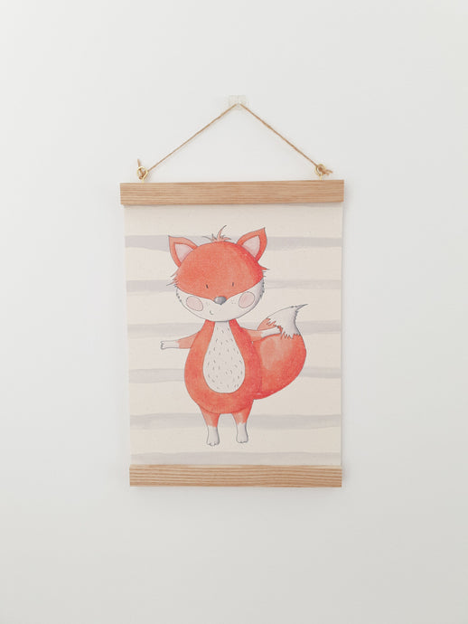 Fox canvas print with wooden wall hanger