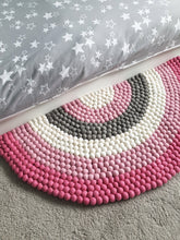 Load image into Gallery viewer, Pink Rainbow Rug - Pink Felt ball rainbow Rug - Rainbow decor - Rainbow accessories - Rainbow decor - Nursery rug - Bedroom Rug
