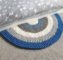 Load image into Gallery viewer, Rainbow Rug - Blue Felt ball rainbow Rug - Blue rainbow decor - Rainbow accessories - Boys rainbow decor - Nursery rug - Bedroom Rug
