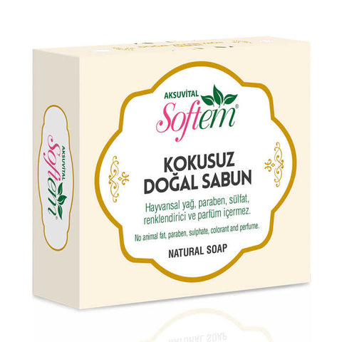 AKSU VITAL NATURAL WHITE SOAP NO SCENT / DOGAL SABUN 6X130 GR