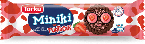 TORKU MINIKI COCOA BISCUITS WITH STRAWBERRY JELLY / MINIKI TURTACIK CILEKLI 24X94 GR