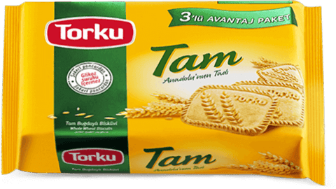 TORKU TAM WHOLE WHEAT BISCUITS / TAM BUGDAYLI BISKUVI 14x3x131 GR