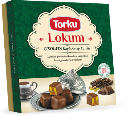 TORKU CHOCOLATE COATED TURKISH DELIGHT WITH PISTACHIO/CIKOLATA KAPLI FISTIKLI LOKUM 12X390 GR