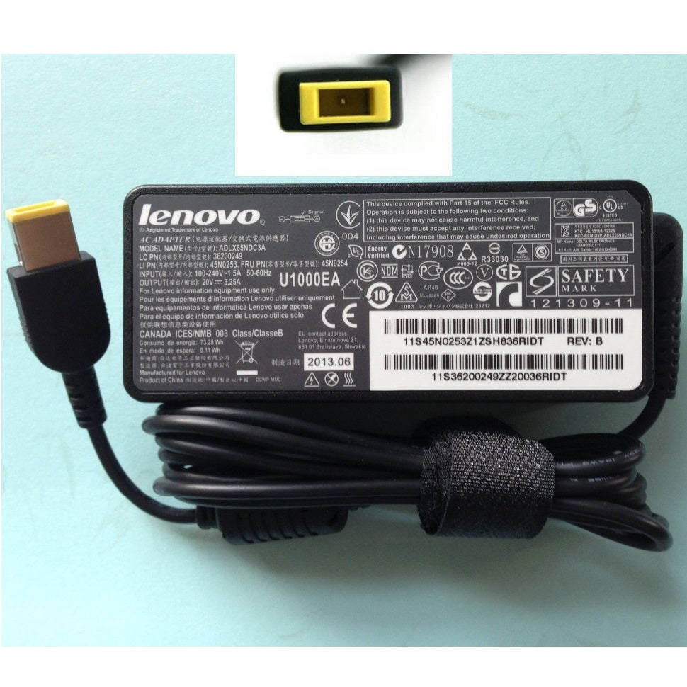 Lenovo Square Pin Laptop Charger 20v 3.25a 65w USB