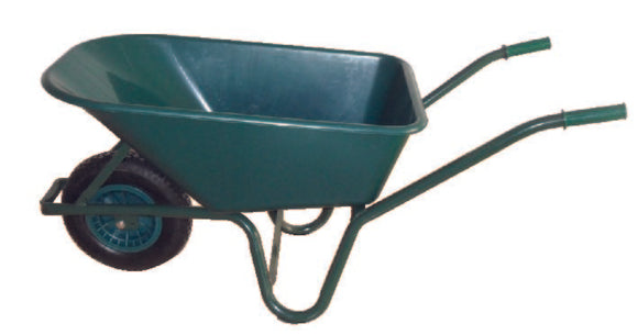 Green PVC Garden Wheelbarrow 100L