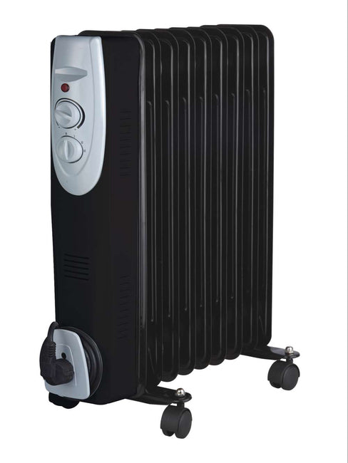 9 Fin Black Oil Filled Radiator 2kW