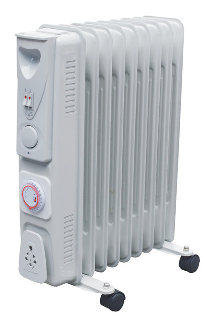9 Fin Oil Filled Radiator 2kW with Timer