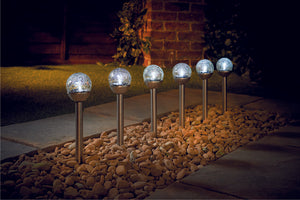 Mini Crackle Ball Solar Light S/S White LED
