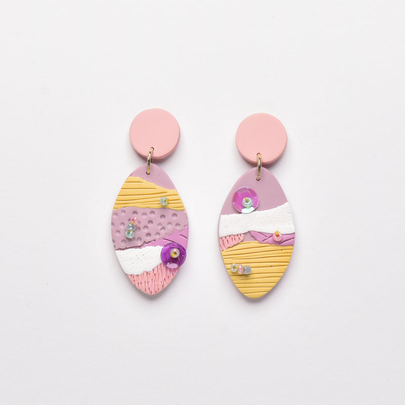 milki.sg Autumn Corals Dangles (Oval)
