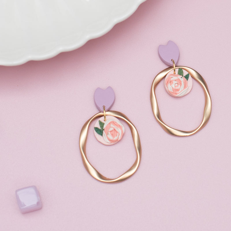 milki.sg Rainbow Fleur Gifts in Box — Morning Dew Blooms Pink Dangles (Ring)