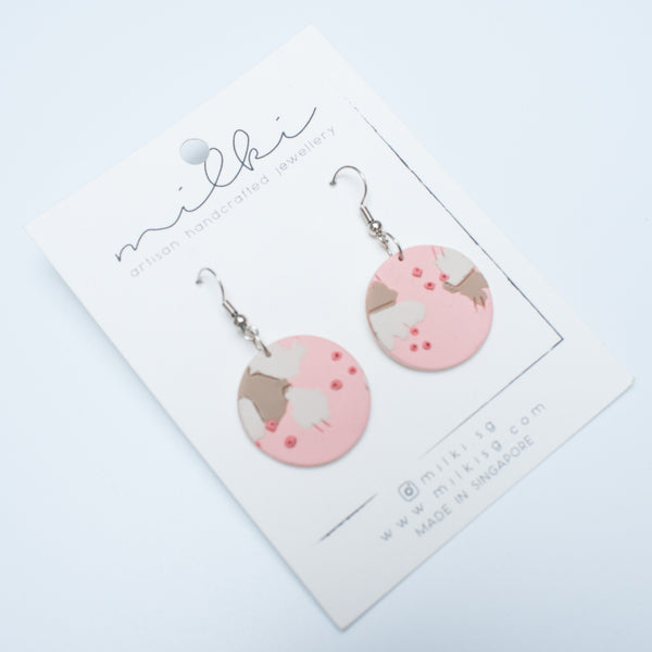 milki.sg Dusty Blush Pink Fishhook Dangles (Circle)